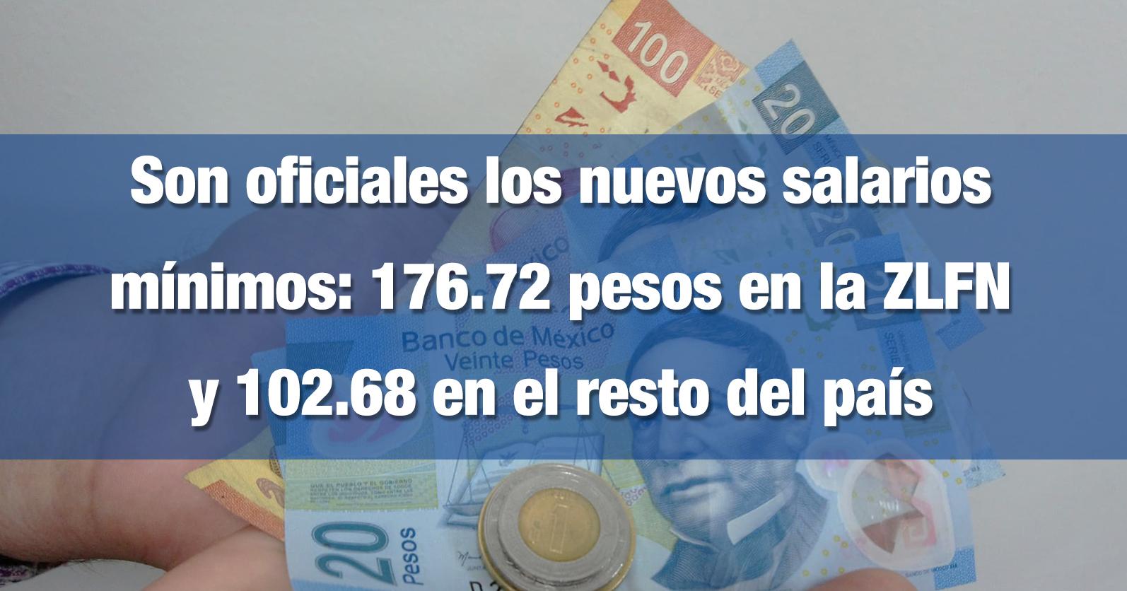 Son oficiales los nuevos salarios mínimos: 176.72 pesos en la ZLFN y 102.68 en el resto del país