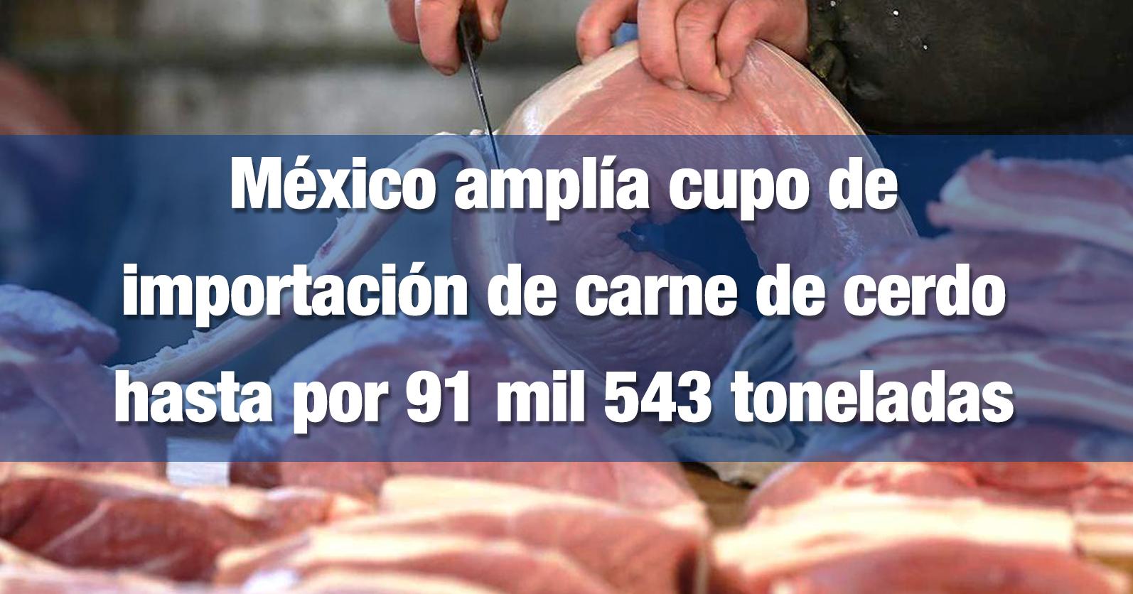 México amplía cupo de importación de carne de cerdo hasta por 91 mil 543 toneladas