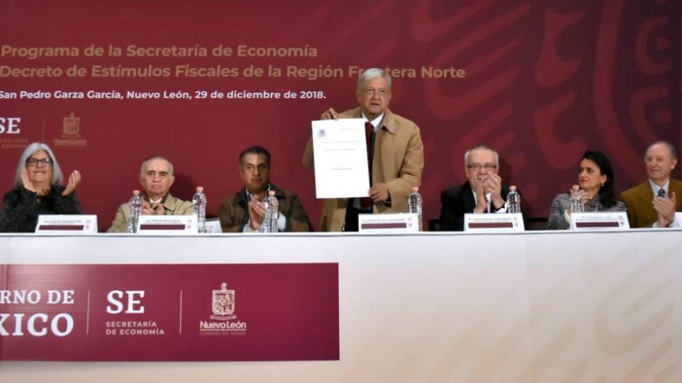AMLO firma decreto de estímulos fiscales para la frontera norte