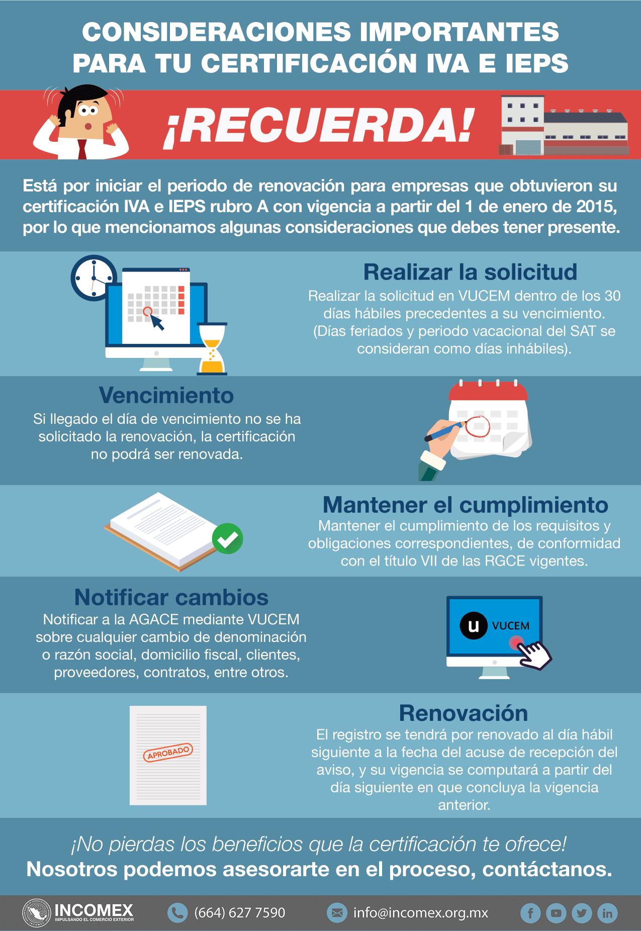 Consideraciones importantes para la certificación IVA e IEPS