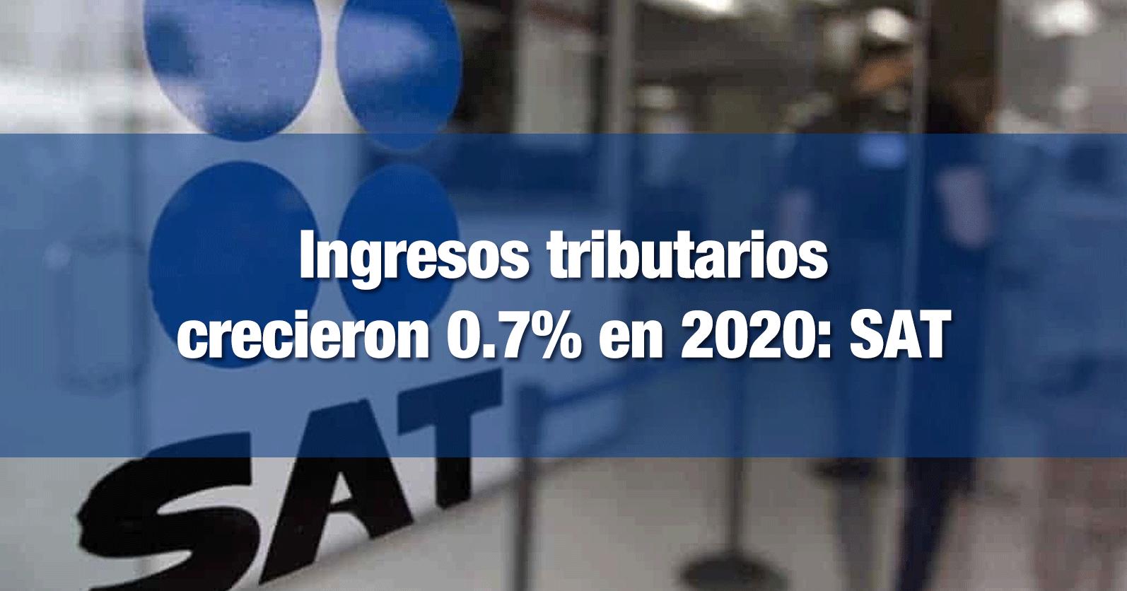 Ingresos tributarios crecieron 0.7% en 2020: SAT