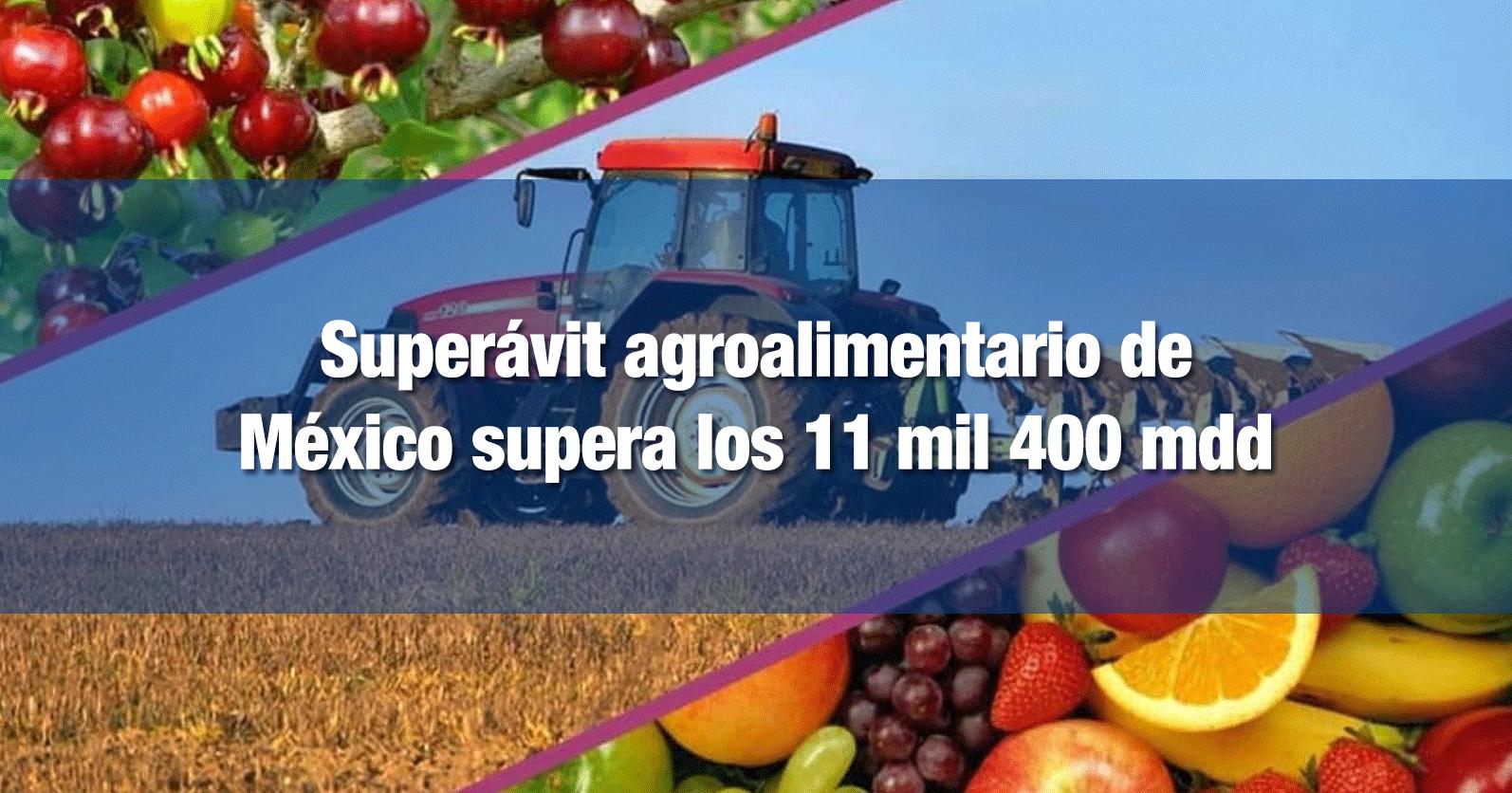 Superávit agroalimentario de México supera los 11 mil 400 mdd