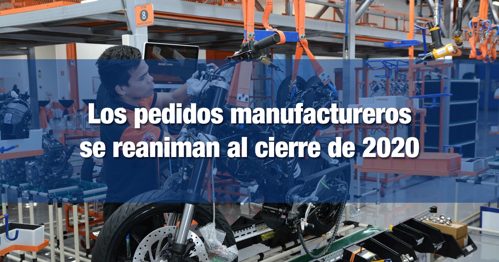 Los pedidos manufactureros se reaniman al cierre de 2020