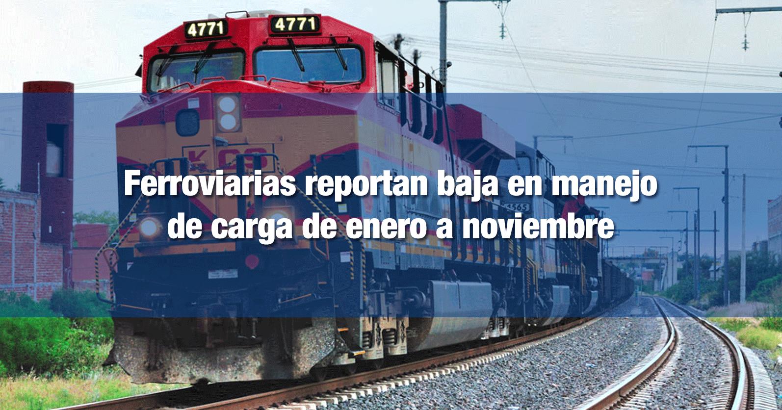 Ferroviarias reportan baja en manejo de carga de enero a noviembre
