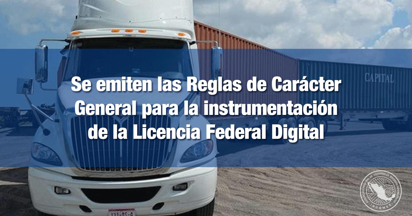Se emiten las Reglas de Carácter General para la instrumentación de la Licencia Federal Digital