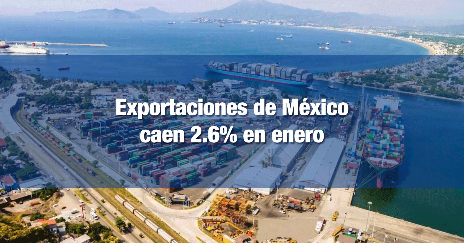 Exportaciones de México caen 2.6% en enero