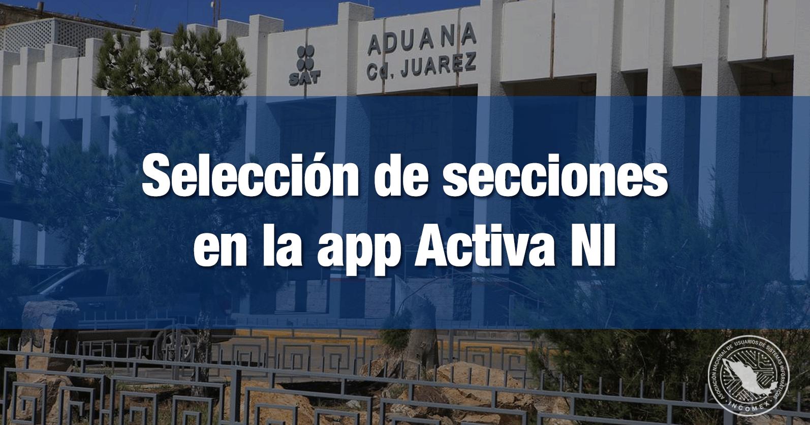 Selección de secciones en la app Activa NI