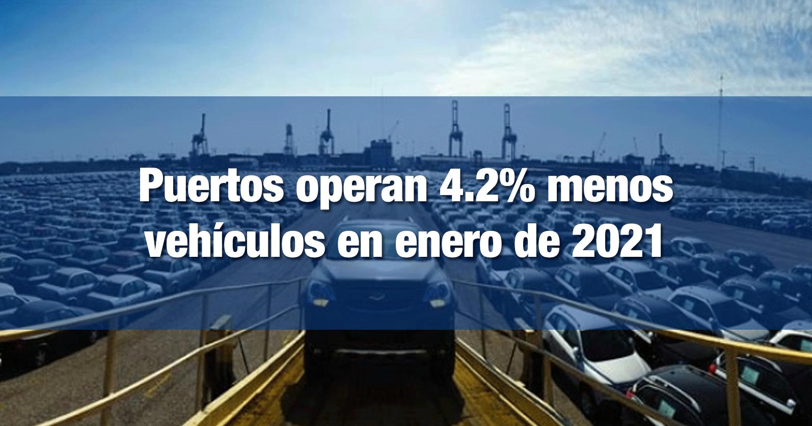 Puertos operan 4.2% menos vehículos en enero de 2021
