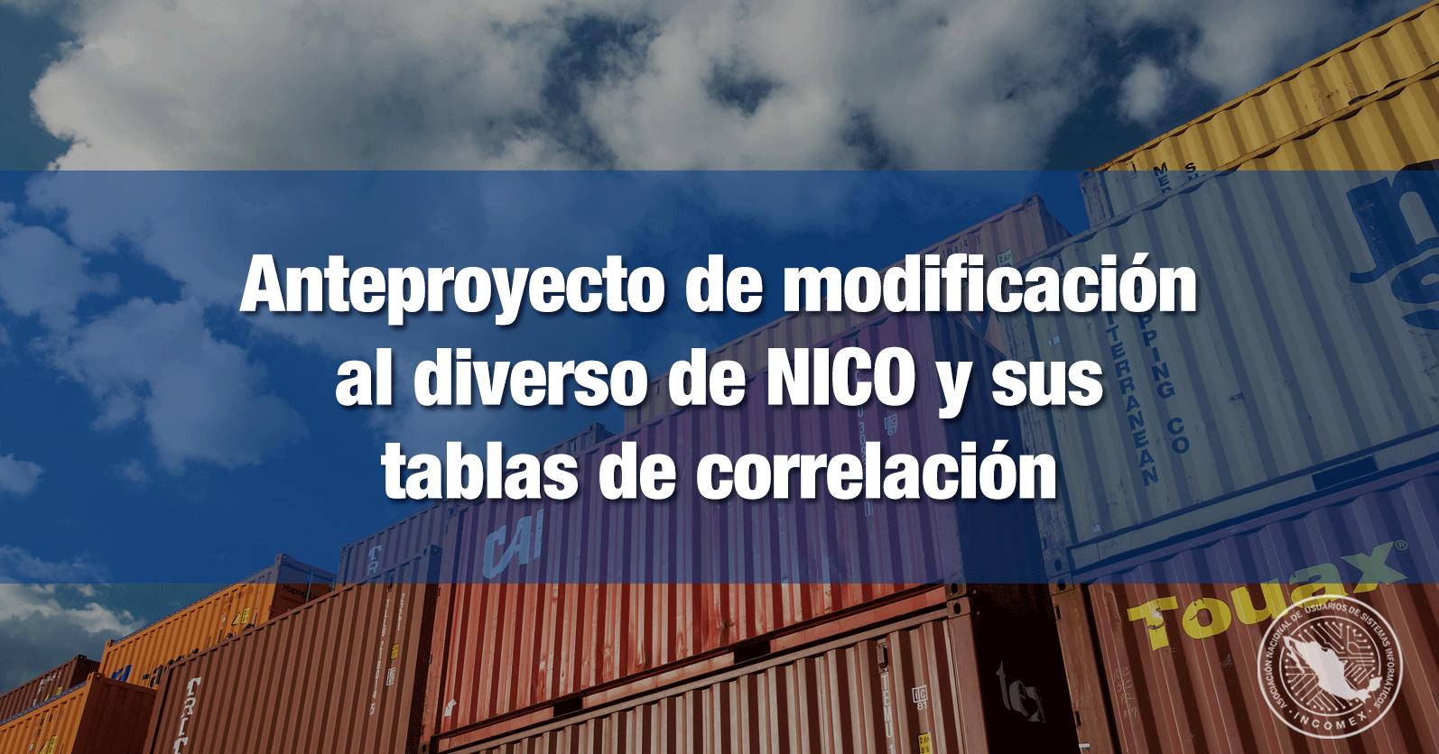 Anteproyecto de modificación al diverso de NICO y sus tablas de correlación