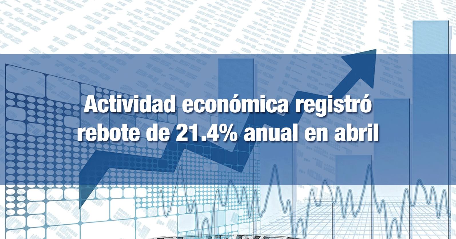 Actividad económica registró rebote de 21.4% anual en abril