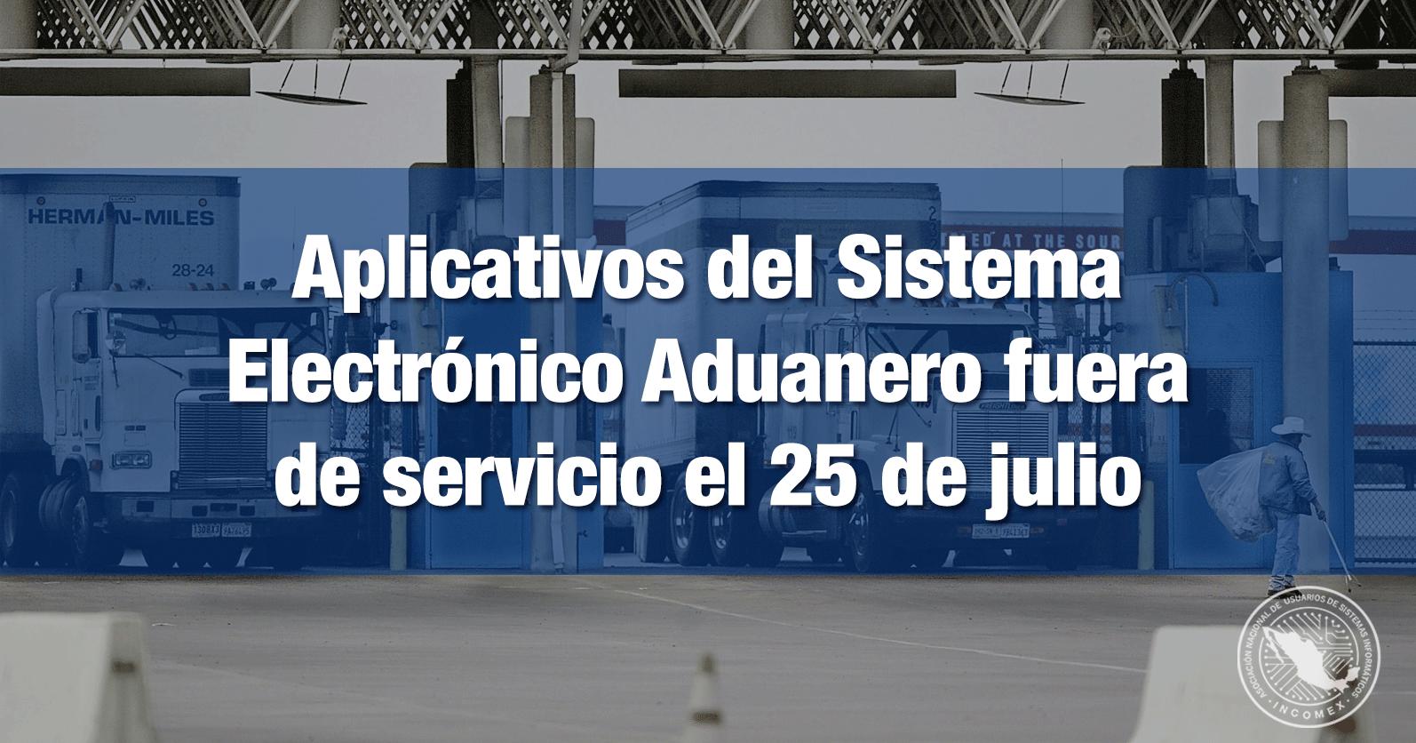 Aplicativos del Sistema Electrónico Aduanero fuera de servicio el 25 de julio