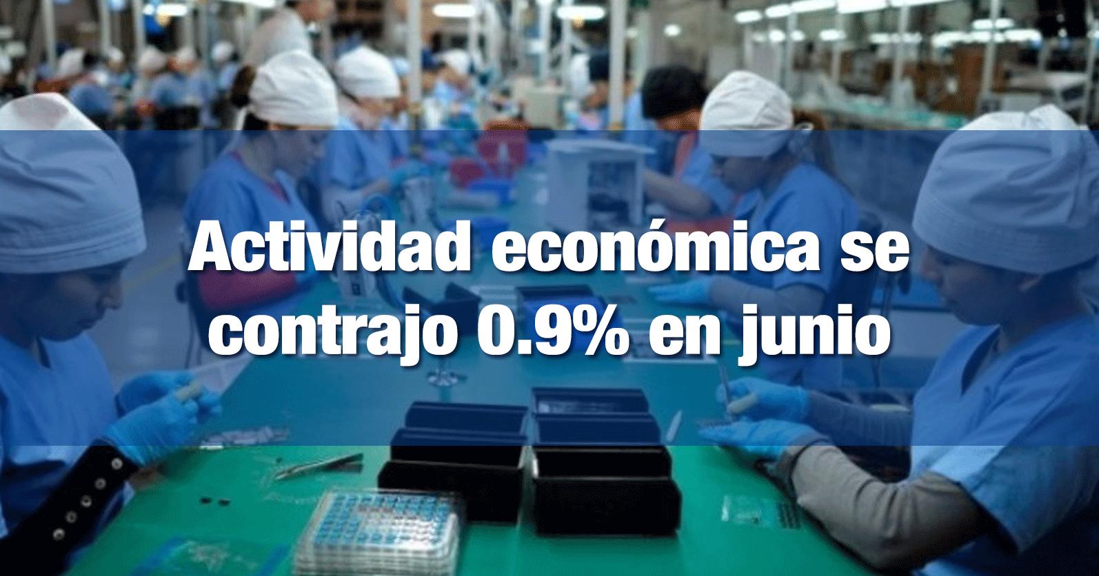 Actividad económica se contrajo 0.9% en junio