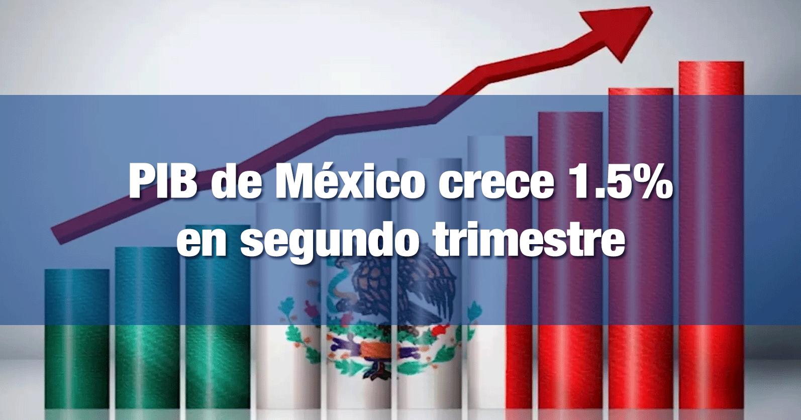PIB de México crece 1.5% en segundo trimestre