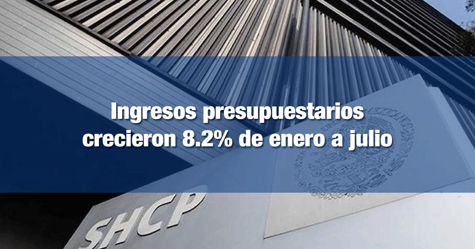 Ingresos presupuestarios crecieron 8.2% de enero a julio