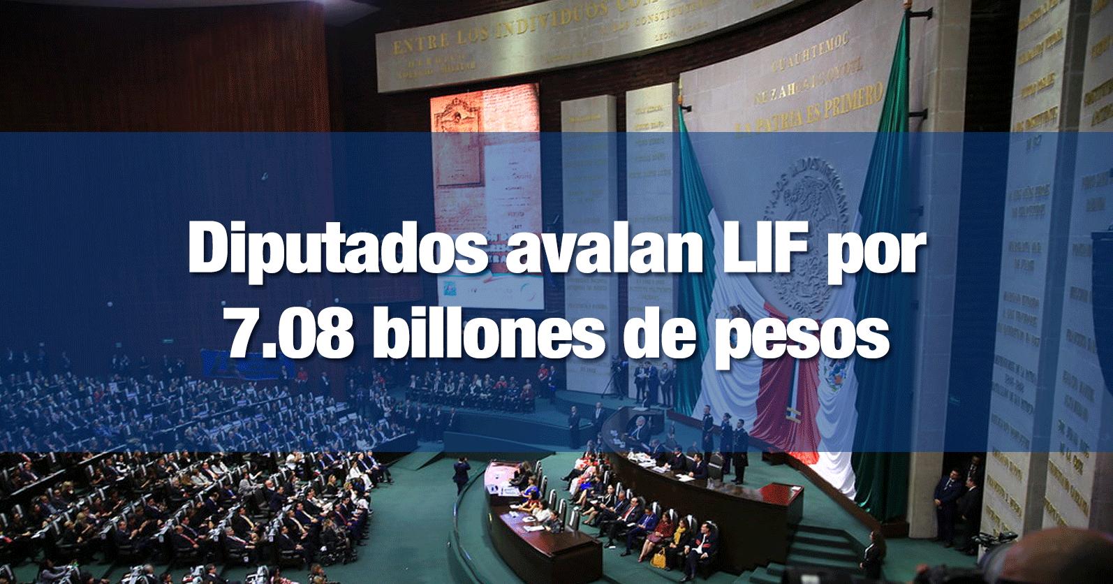 Diputados avalan LIF por 7.08 billones de pesos