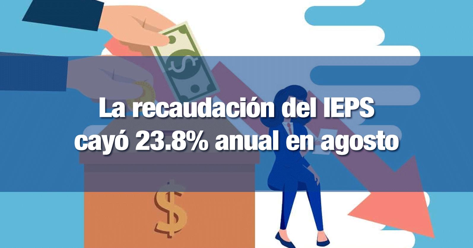 La recaudación del IEPS cayó 23.8% anual en agosto