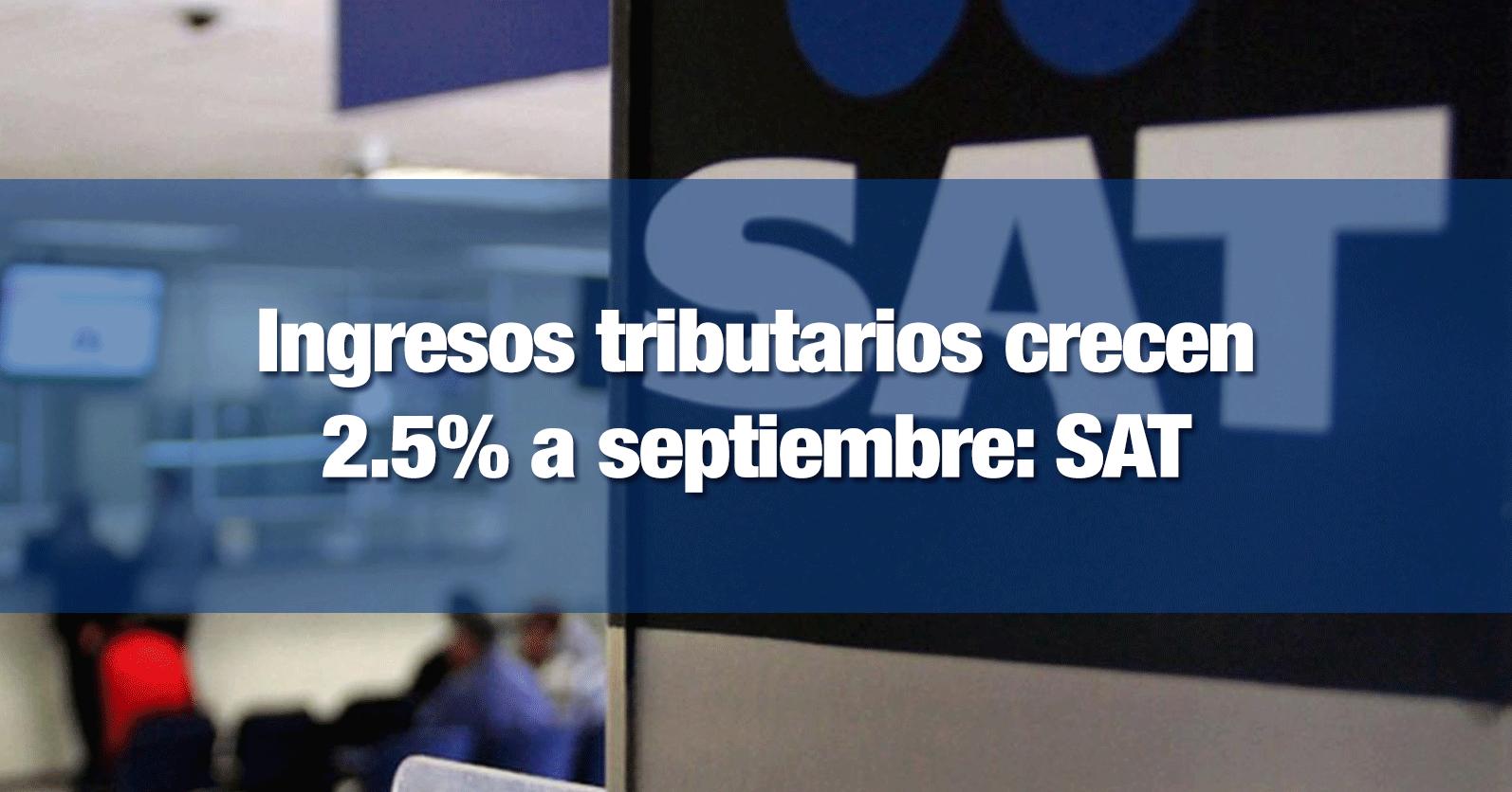 Ingresos tributarios crecen 2.5% a septiembre: SAT